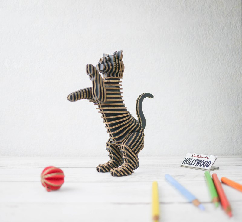 HAPPY CAT/3D Craft Gift/DIY/Black