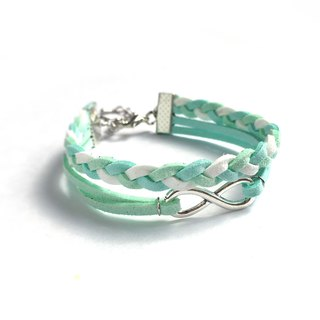 Handmade Double Braided Infinity Bracelets–light blue and green