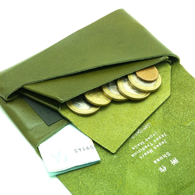 Japanese Handmade - Shosa Vegetable Tanned Coin Purse - Simple Basic / Green
