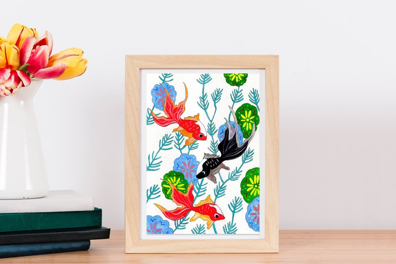 Original Painting // Goldfish Brothers // Goldfish and Flower Painting