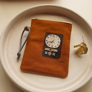 Hand-painted vintage clock coin bag