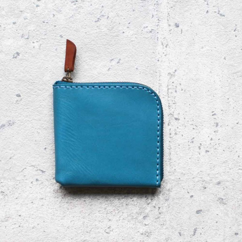Turquoise vegetable cow hide leather coin zip wallet
