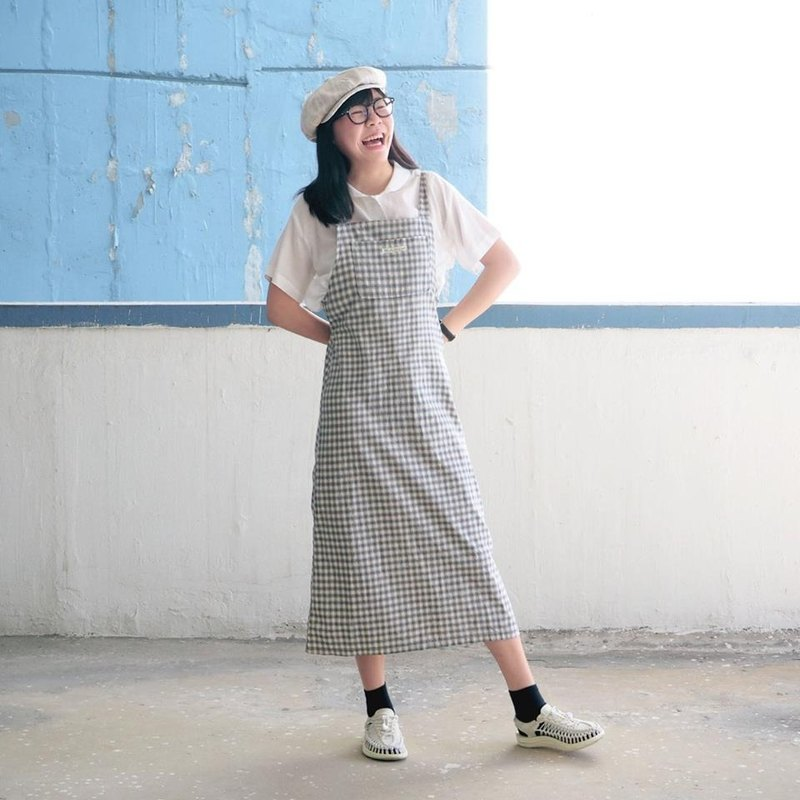 Blue dress Series 16 (Straight apricot blue checkered skirt)