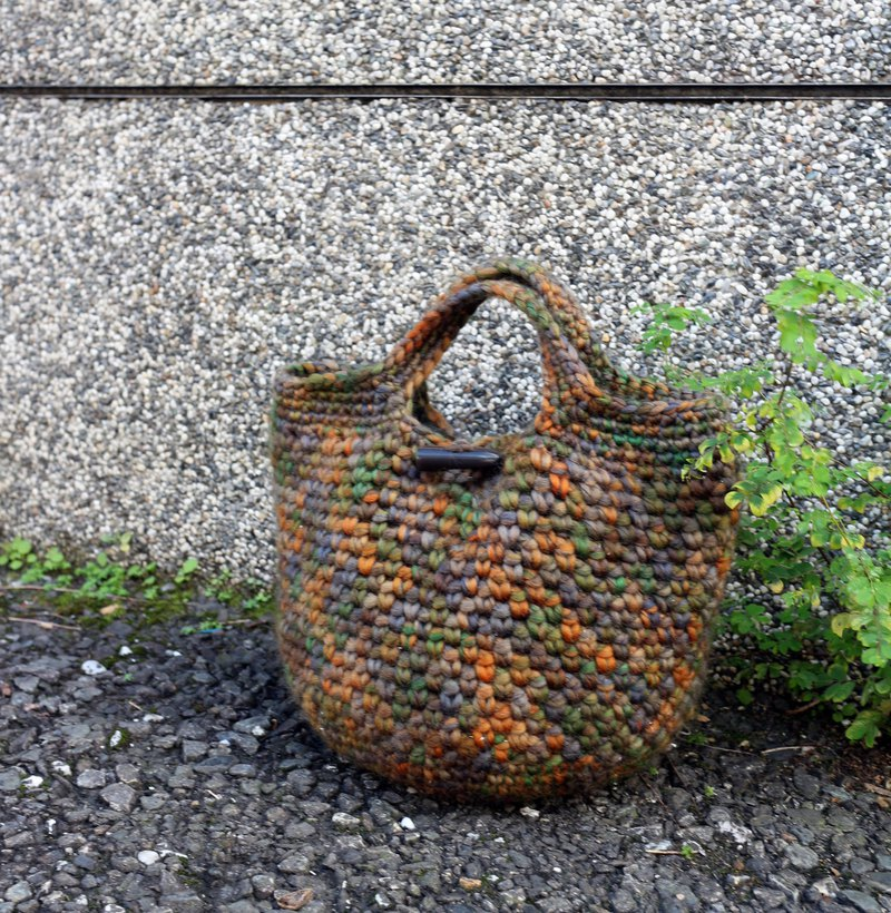 Handmade - autumn night fruit - wool woven tote bag