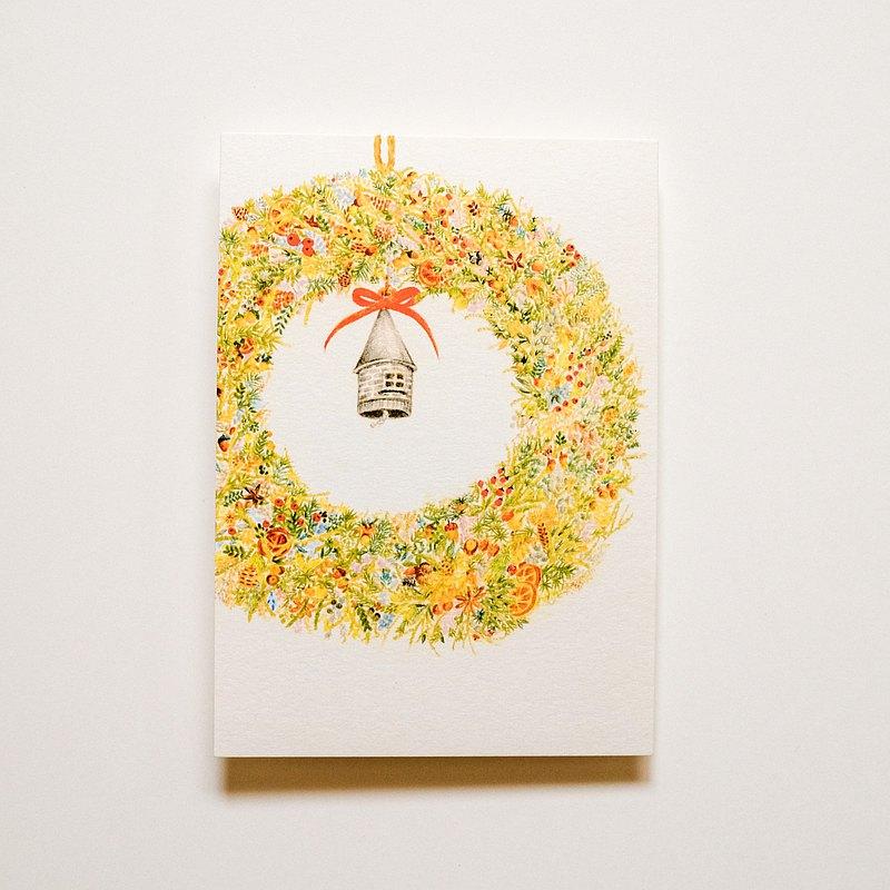 獨家 -插畫明信片 鼴鼠家的聖誕節花圈 聖誕禮物 交換禮物