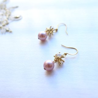 Romantic snow-Brass handmade earrings