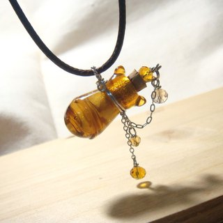 Grapefruit Forest Handmade Glass - Cat Essential Oil Bottle - Amber / Scented Bottle Necklace (Stereo Bottle)