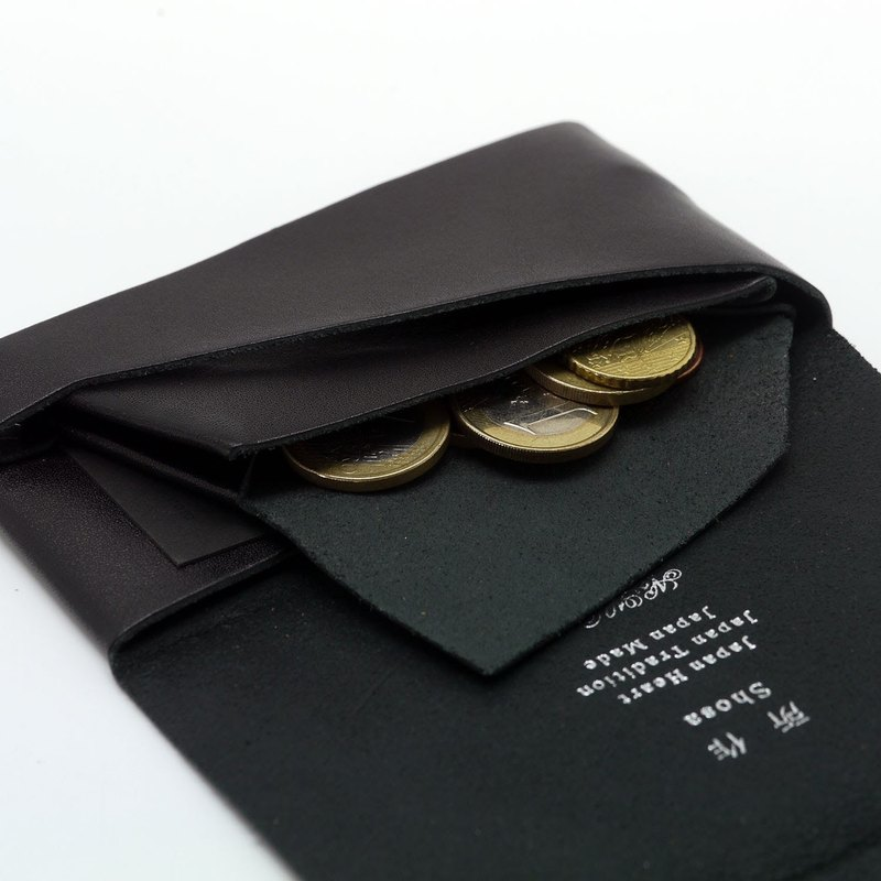 Japanese Handmade - Shosa Vegetable Tanned Coin Purse - Simple Basic / Black