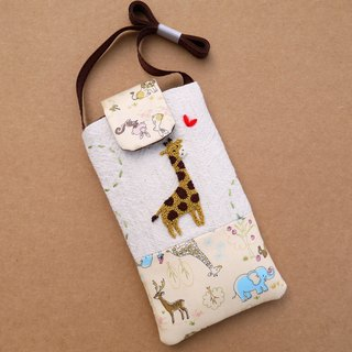 Giraffe embroidery phone bag (L) for 5.5 inch mobile phone