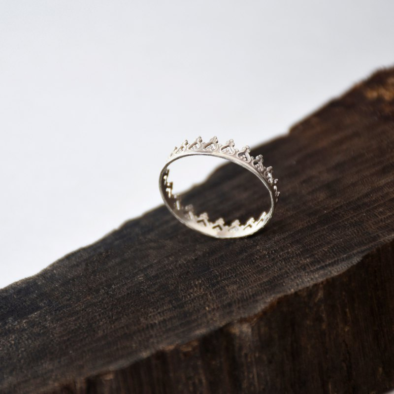 Handmade Simple Sterling Silver Lace Ring, Crown Ring