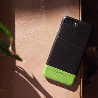 Alto iPhone 8 Plus Leather Case Back Cover 5.5吋 Metro - Raven Black / Lyme Green
