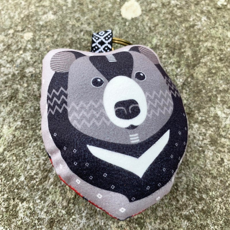 [Forest Animal Series] Q version of the black bear two with the charm key ring (cut)