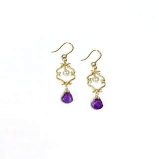 【Bright】 II. Amethyst. Natural pearl. Water drop earrings. Imported 18k gold plated ear hooks. Can change ear clip.
