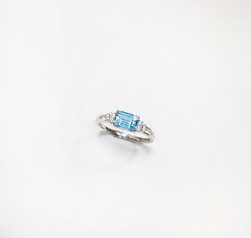 Sky Blue Topaz Ring 925 Sterling Silver Hand Inlay