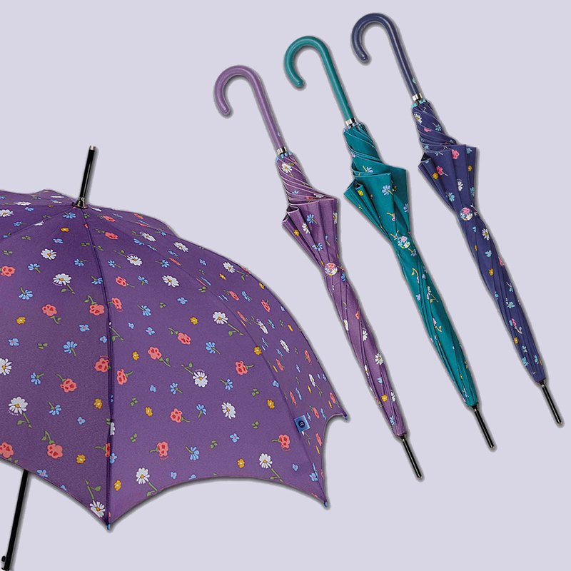 [Spanish bisetti] tropical flower anti-UV straight bone umbrella