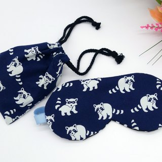 Navy blue small raccoon adjustable sleep goggles attached to the mouth of the bag bag sleep mask*sk*