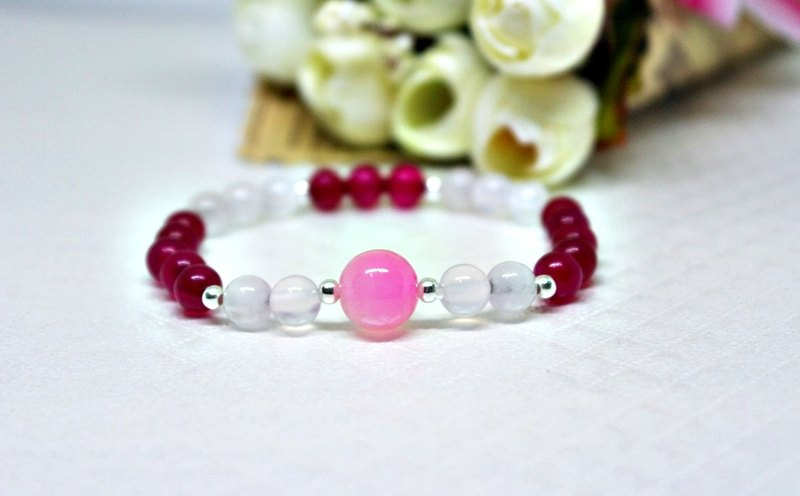 Natural stone X silver elastic bracelet _ pink sweetheart