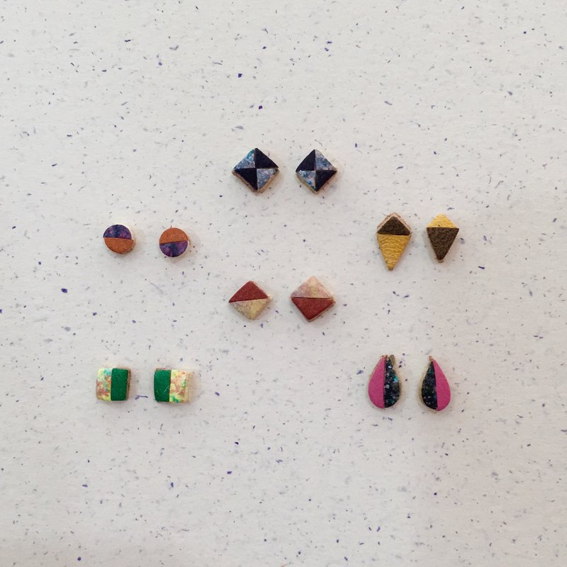 1/2&1/2-Mini color block leather earrings
