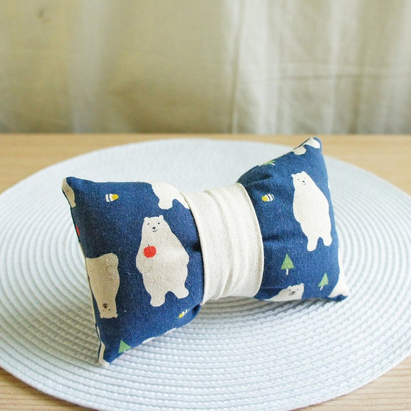 Lovely Japanese cloth [apple bear kimono belt bow shape wrist pillow, dark blue] mouse pillow