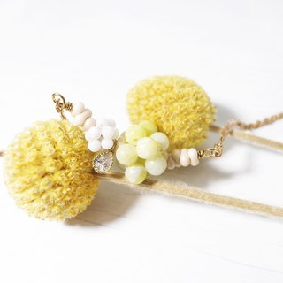 "Round Di ""New Year's Eve"" Provençal morning fruit short necklace (yellow-green) Handmade retro brass"