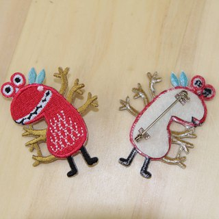 Cloth Embroidery Pin - Monster Planet Fantasy World Series burst red six strange (single)
