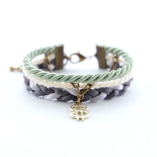 Dollar layered rope bracelet in sage green / cream / charcoal / light gray