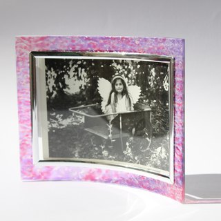 Romantic Handpainted Impressionist Pink Lavender Glass Art Picture Frame