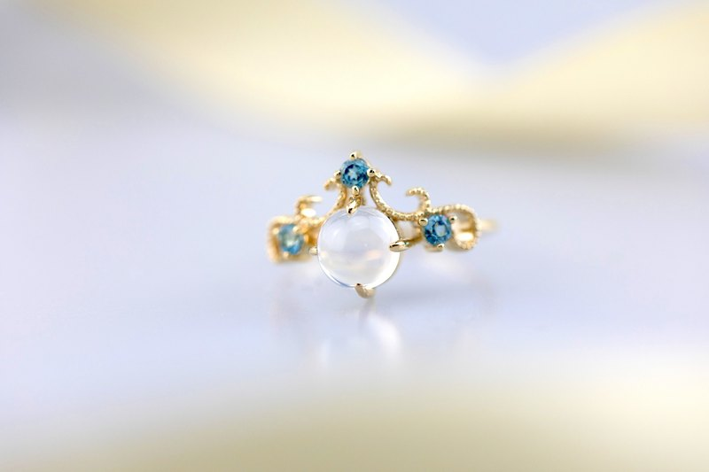 18k Yellow Gold Topaz and Moonstone Cluster Ring - Custom Engagement Ring R049