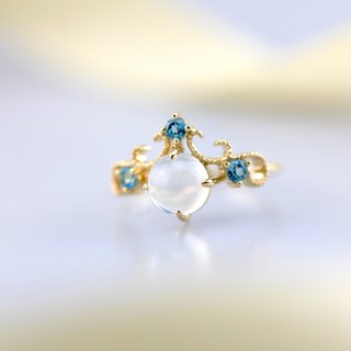 【PurpleMay Jewellery】18k Yellow Gold Topaz and Moonstone Cluster Ring Band R049