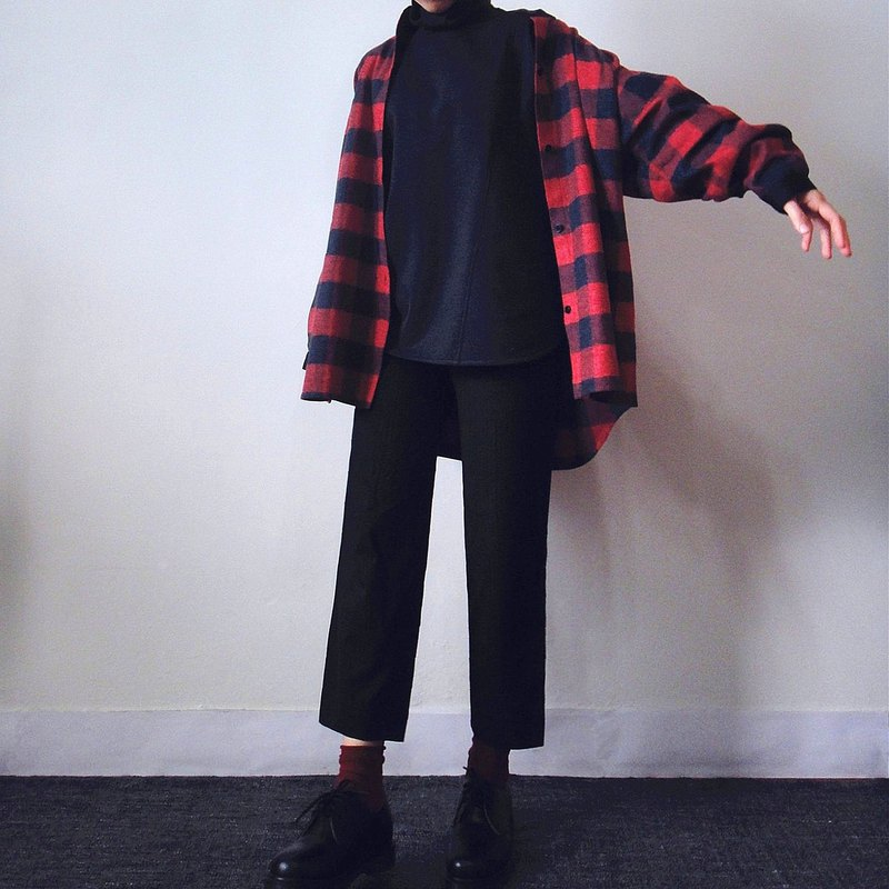 Handmade red and black check blouse