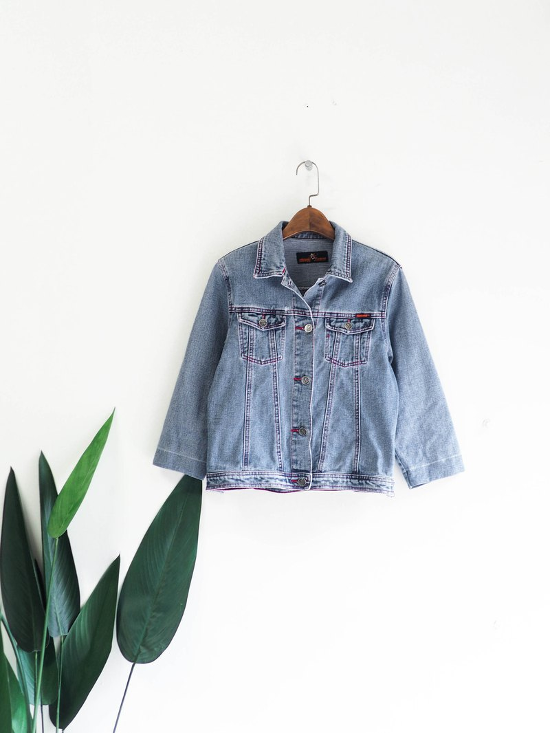 Light blue sky youth electric fantasy story day and antique cotton denim denim jacket coat vintage