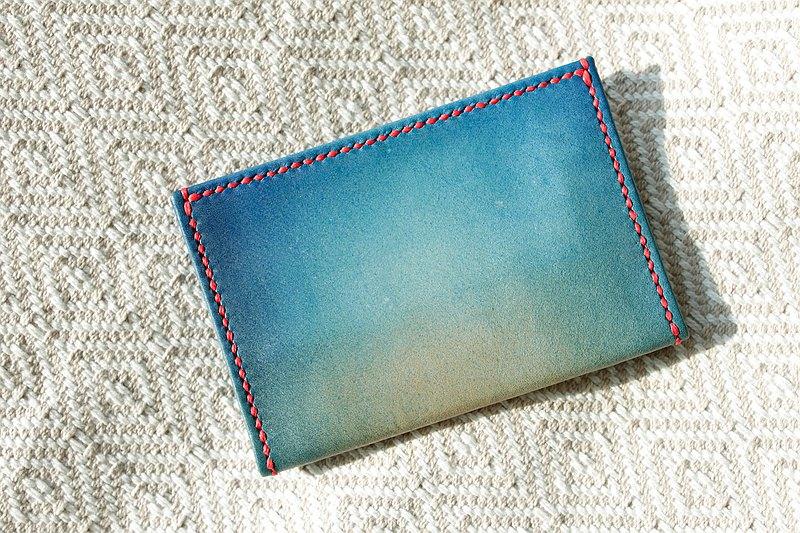 布勞希藍湖色 薄皮 卡片夾