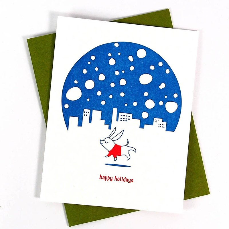 Happy Holidays Christmas Card in Snow [Fugu-Card Christmas Series]
