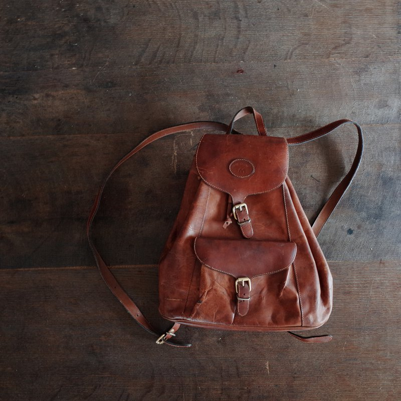 Jean Michel Caramel // vegetable tanned leather / / cowhide / / beam / / classic / / antique / / backpack