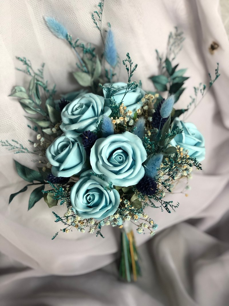 Fantasy Blue Rose Fragrance Flower Dry Flower Sola Flower Bouquet Gifts Customization