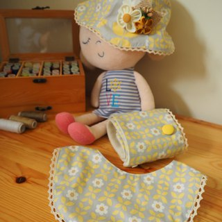 Handmade baby/ kid hat with hair clip, bib and neck warmer gift set