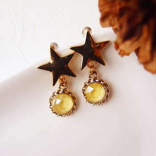 Mango. Protein Diamond - Star Ear Clips, Pin Earrings. Pierced ear or stainless steel needle