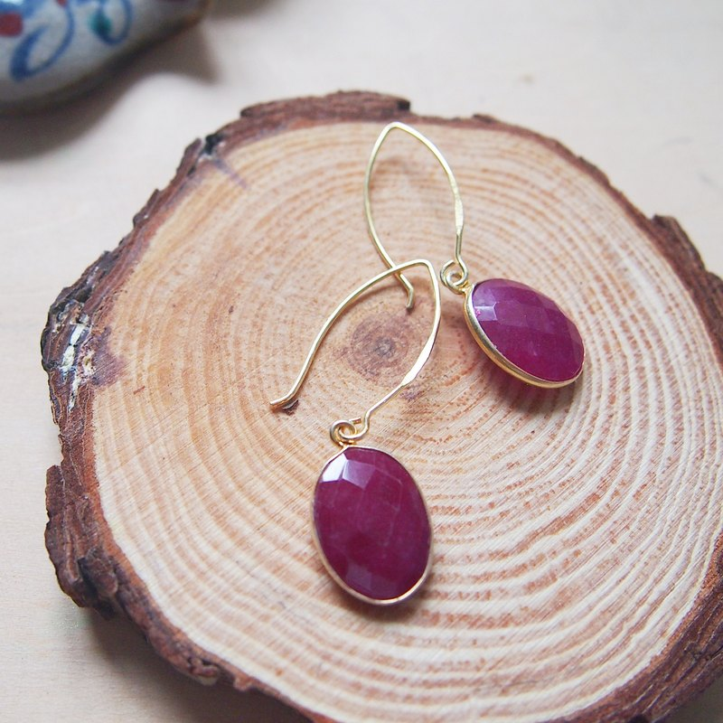 Dangle Ruby Earrings | 18K Yellow Gold Plated