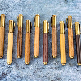Wooden bronze magnetic ball pen Antique Brass with laser engraving customized wooden pen