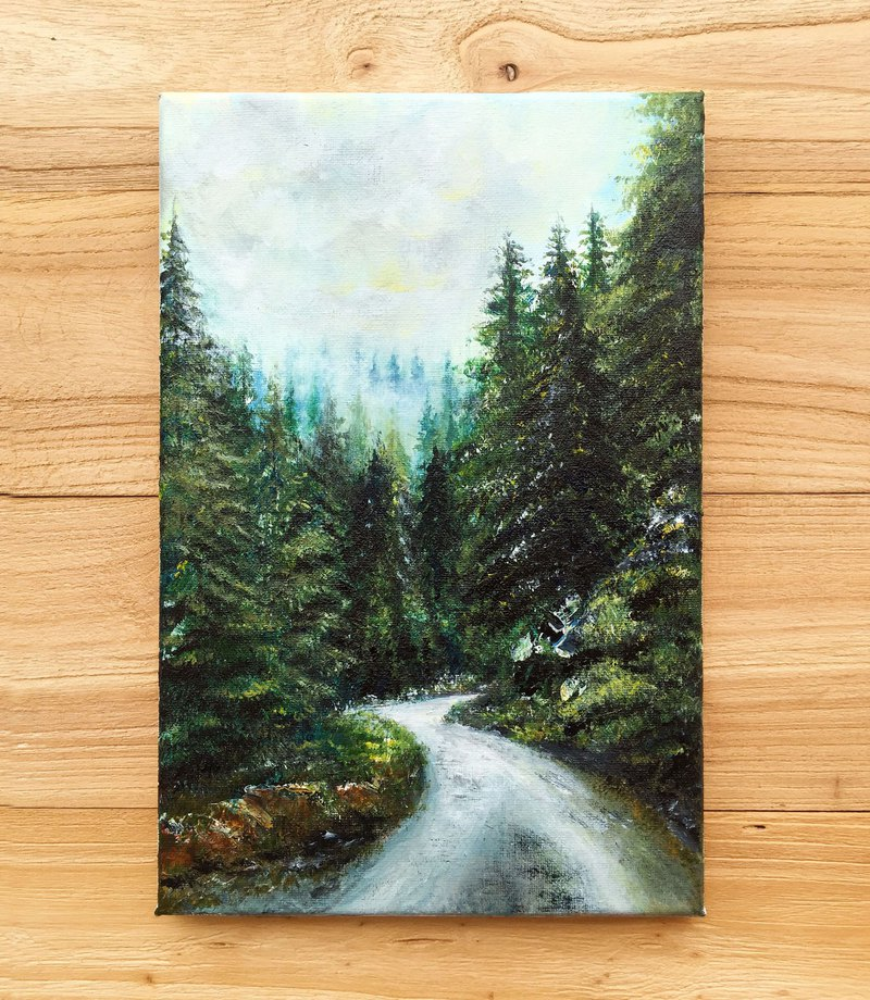 【Evergreen Forest】Original Acrylic Painting. Mountain Forest Path Landscape Art.