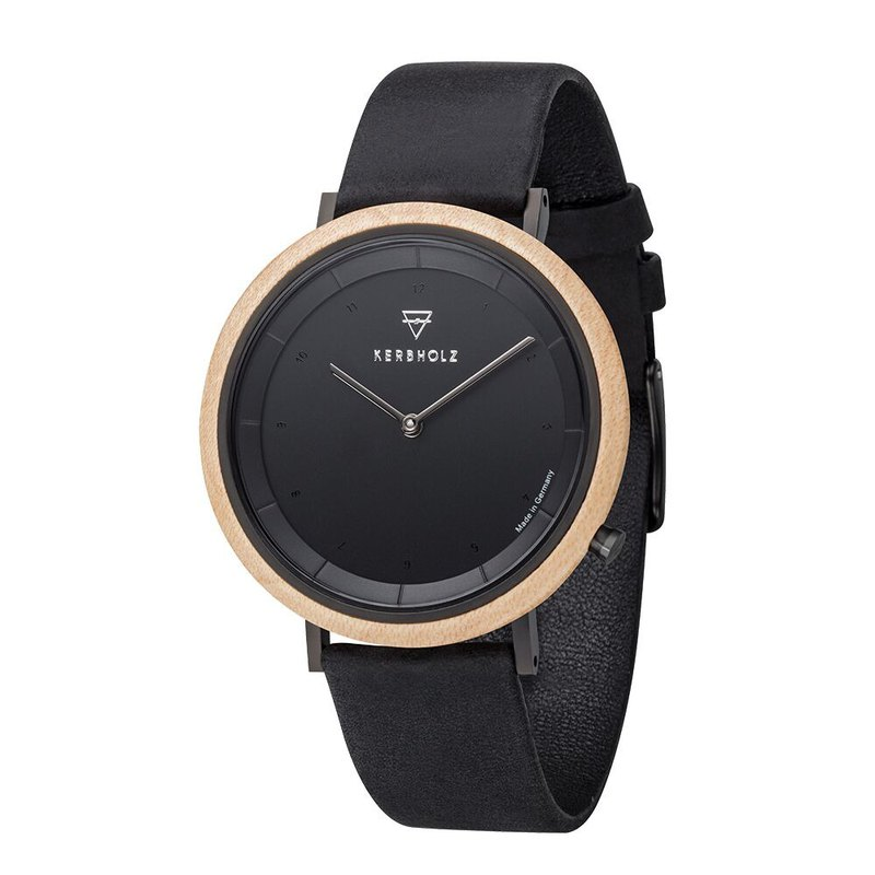 KERBHOLZ-Wood Watch-SLIM-Maple-Night Black (40mm)