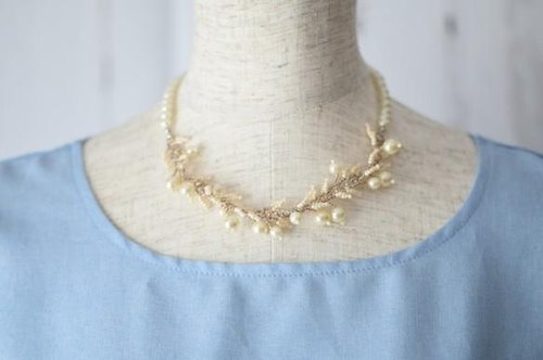 plastic pearl leaf necklace(cream)pearl 46.5cm 50cm 55cm
