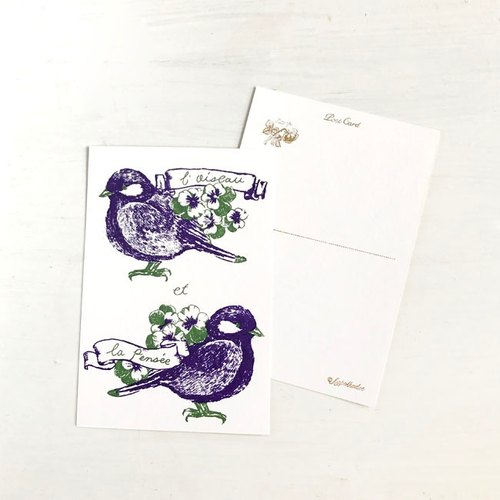 a pansy and a bird : illustrated postcard