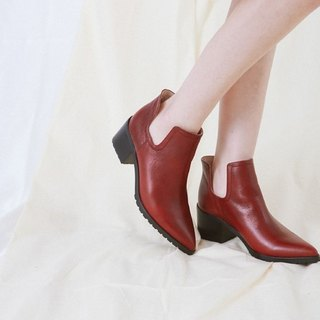 U-shaped side digging pointed jagged with leather boots red