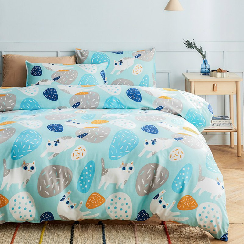 Group 喵 pillowcase + quilt cover two sets of single double original hand-painted cat 40 cotton bed package optional