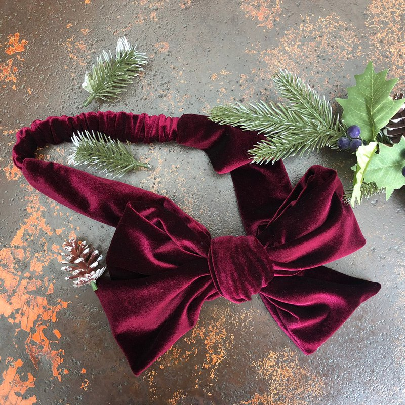 Gift bow _ruby_ velvet models _ dual-use hair band _ exchange gifts