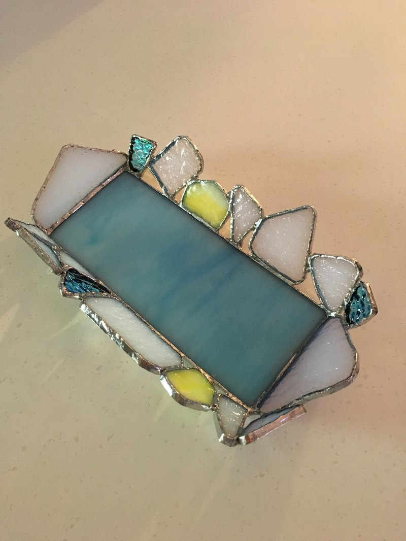 Jewelry tray turquoise yellow white glass Bay View