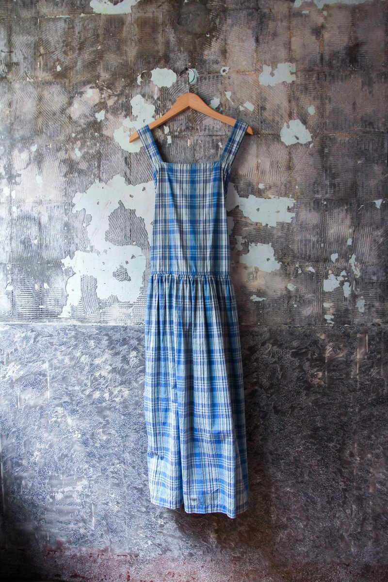 Vintage Blue Plaid Cross Camisole Dress