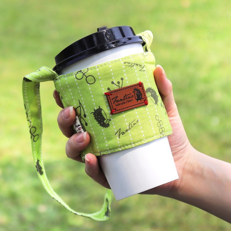 Double-layer insulated green drink cup set (floating forest) grass green