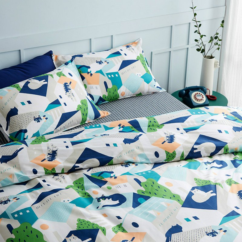 Group 喵 single double bed / bed bag hand-painted cat 40 cotton bedding pillowcase quilt cover